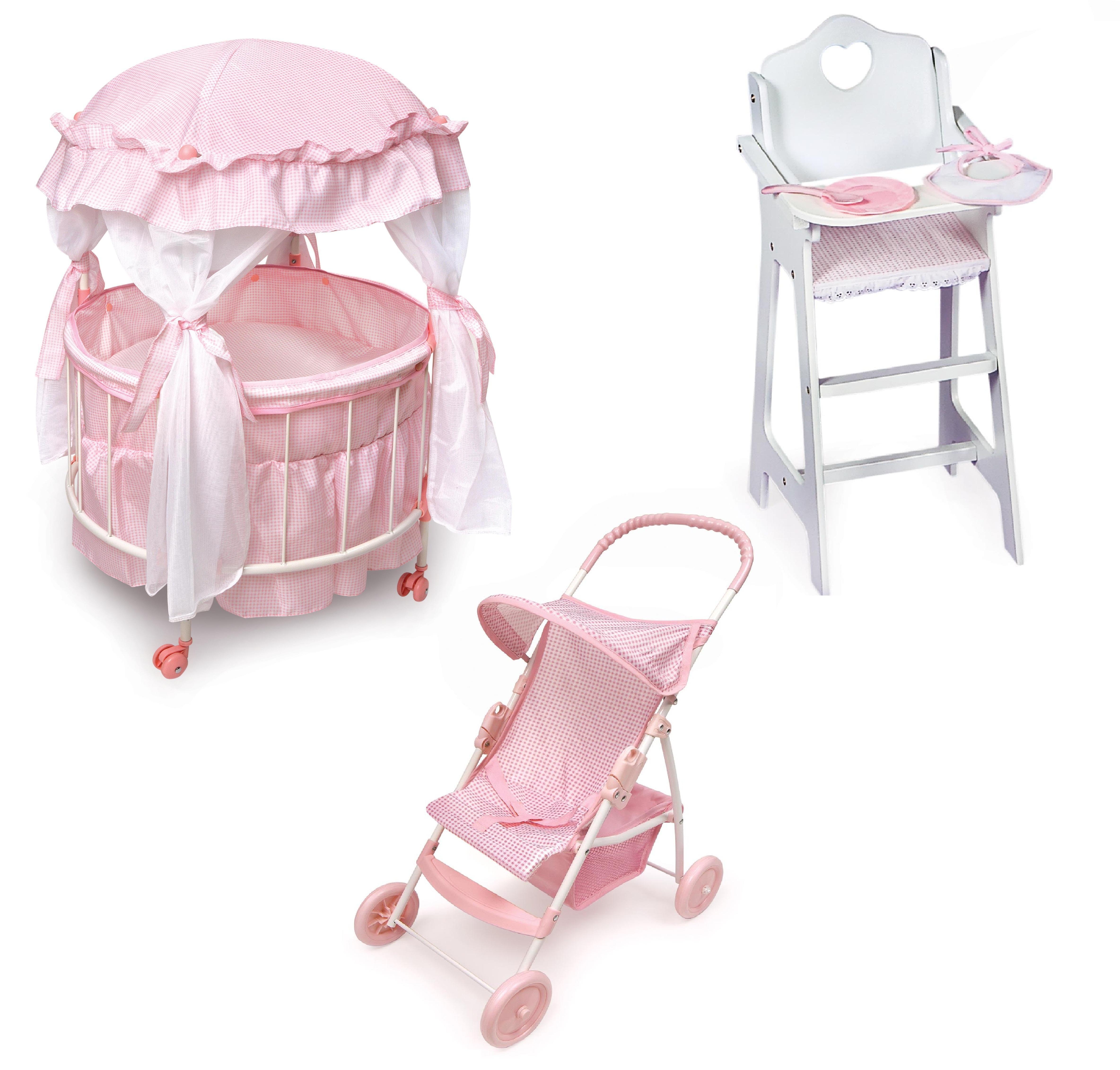 Royal Pavilion Doll Crib Furniture Set Feature:Doll High Chair   Walmart.com