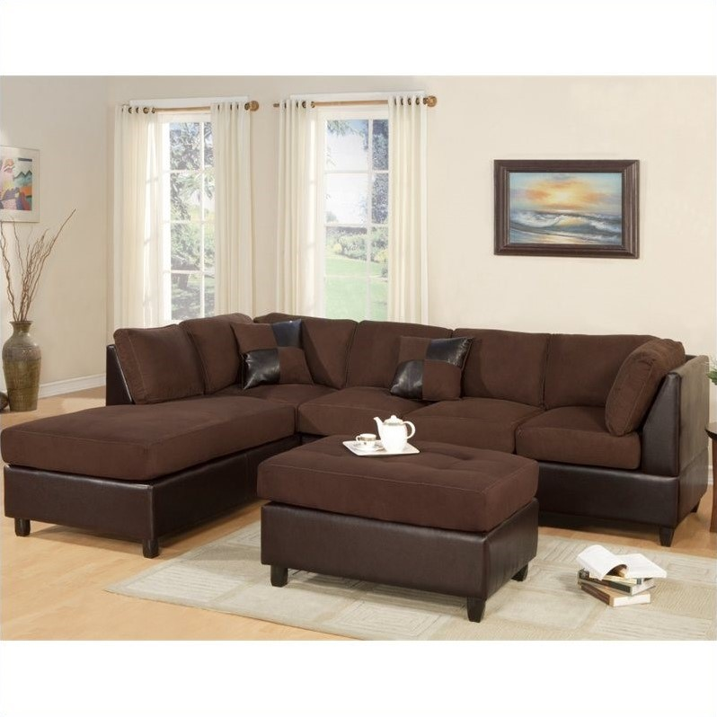 Poundex Bobkona Hungtinton Microfiber/Faux Leather 3 Piece Sectional In  Chocolate Great Pictures