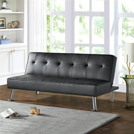 Easyfashion Convertible Black Faux Leather Futon Sofa Bed, Black Only $139 Shipped