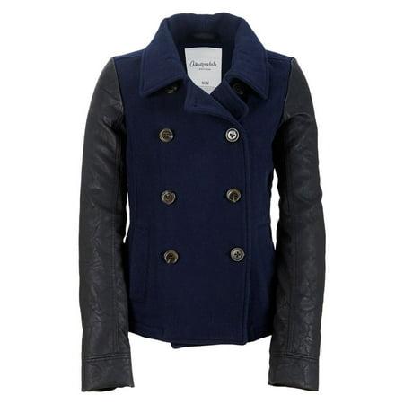Sleeve Peacoat (Aeropostale Juniors Leather Sleeve Pea Coat )