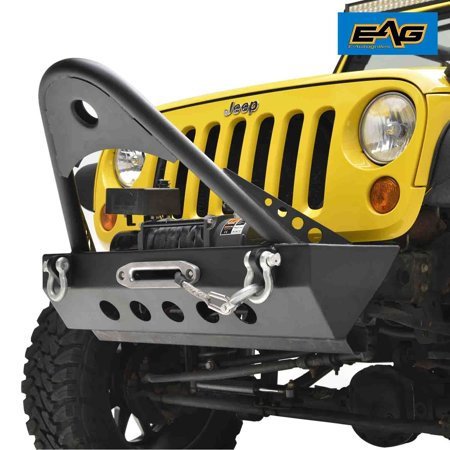 EAG EAG Front Bumper Stinger with Winch Plate and D-rings for 07-18 Jeep Wrangler JK Rock Crawler