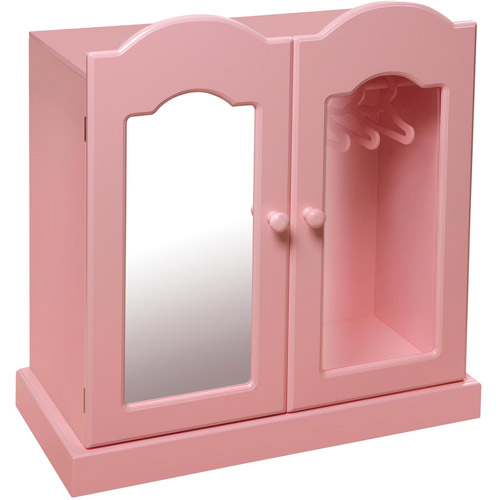 "Badger Basket Pink Mirrored Doll Armoire with 3 Baskets and 3 Hangers, Fits Most 18"" Dolls & My Life As"