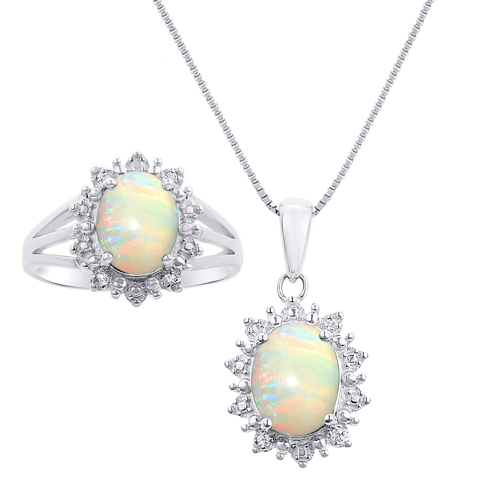 Princess Diana Inspired Halo Diamond & Opal Matching Pendant Necklace and Ring Set In 14K White Gold SET4781OPW-G by Rylos