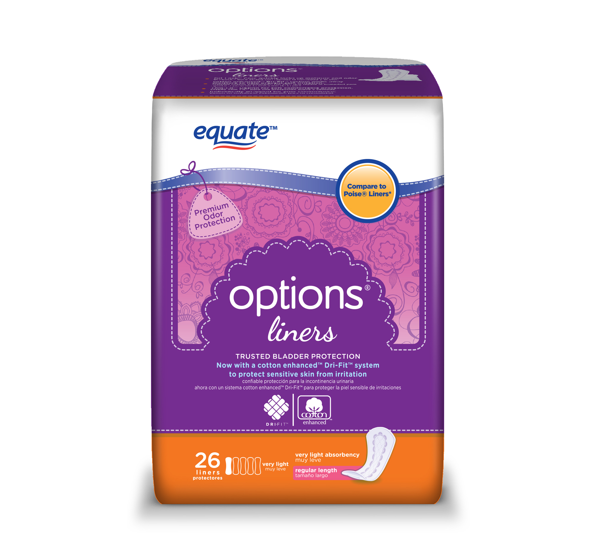 (4 Pack) Equate Options Incontinence Liners for Women, Very Light, Regular, 26 Ct