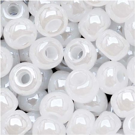 Czech Seed Beads 6/0 White Pearl (1 ounce) - Edwardian Seed Pearl