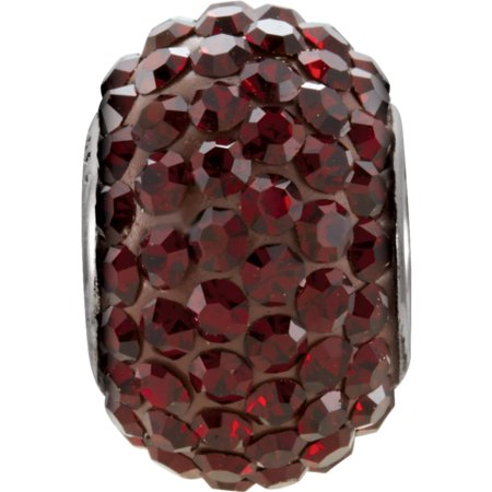 Sterling Silver 12x8mm January Polished Kera Garnet Crystal Pave Bead Charm