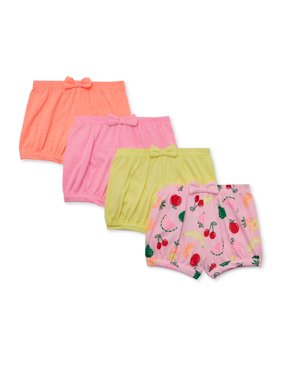 Garanimals Baby Girl Solid & Print Knit Bubble Shorts With Bow, 4-pc Multi-Pack