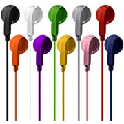Bulk Earphones Earbuds Headphones Wholesale Lot Inexpensive Disposable Replacement for Kids Individually Bagged for School Classroom Students (10 Pack, Multi)