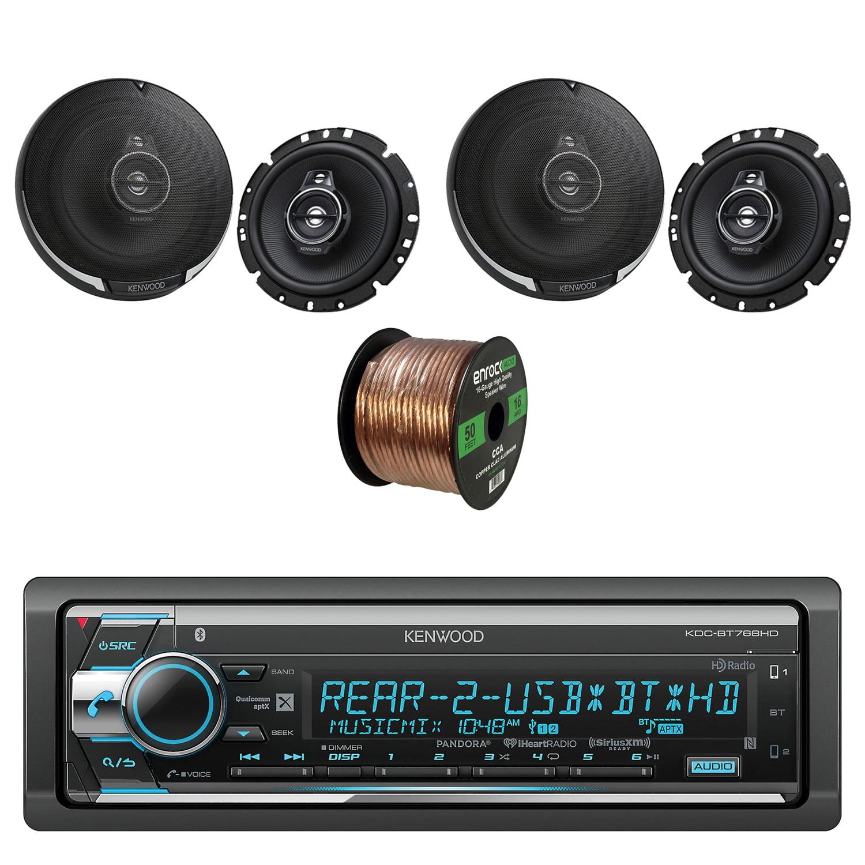 Kenwood Single Din CD AM FM Car Audio Receiver with Bluetooth with Kenwood 6.75 Inch 330 Watt 3-Way Car Audio... by EnrockAutomotive