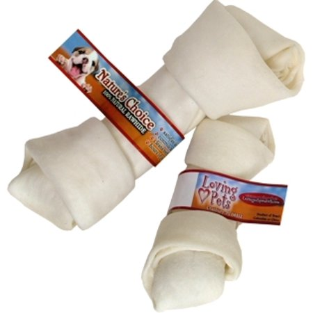 Loving Pets Nature's Choice 4106 Natural Knotted Rawhide Bone Dog Chews, 8 to 9 Inch