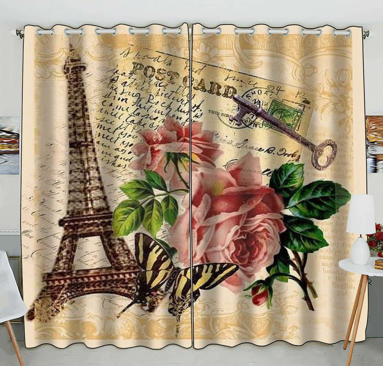 ZKGK Paris Eiffel Tower Window Curtain Drapery/Panels/Treatment For Living Room Bedroom Kids Rooms 52x84 inches Two Panel