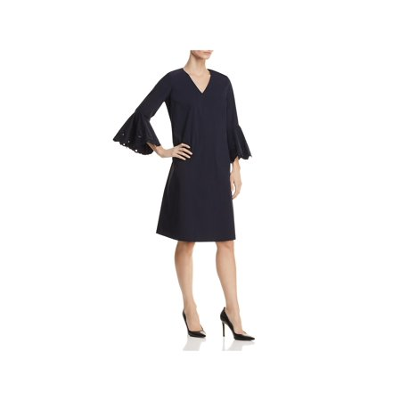Lafayette 148 New York Womens Holly Bell Sleeves V-Neck Party Dress