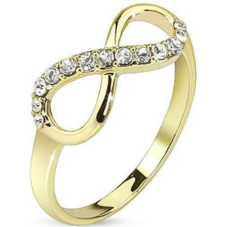 Pave Gemmed Infinite Ring. Brass with 14Kt Gold Plated Infinity Knot CZ (Best 1000 Jewels Friends Unisex Rings)
