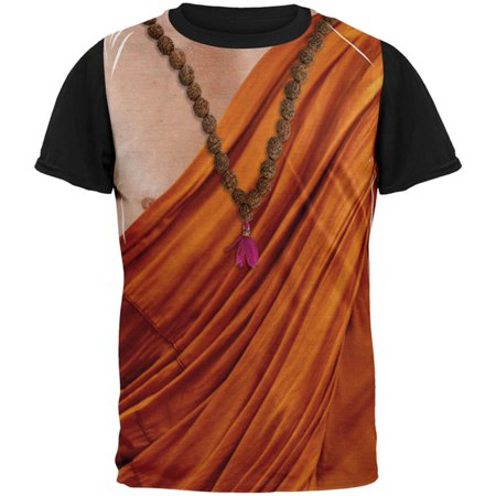 Halloween Buddhist Monk Costume All Over Mens Black Back T Shirt](Take Back Halloween)