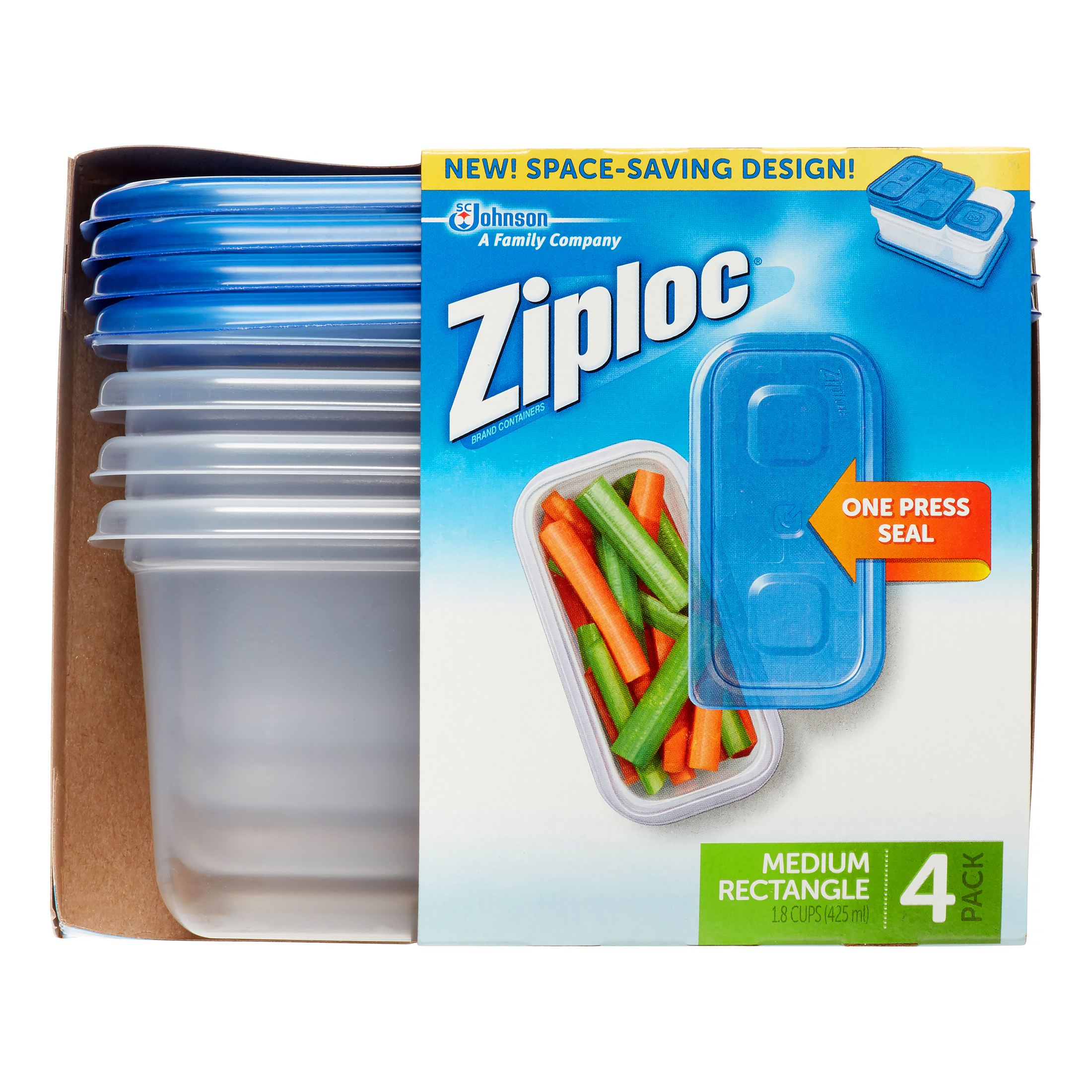 Ziploc brand container with One Press Seal, Medium Rectangle, 4 count