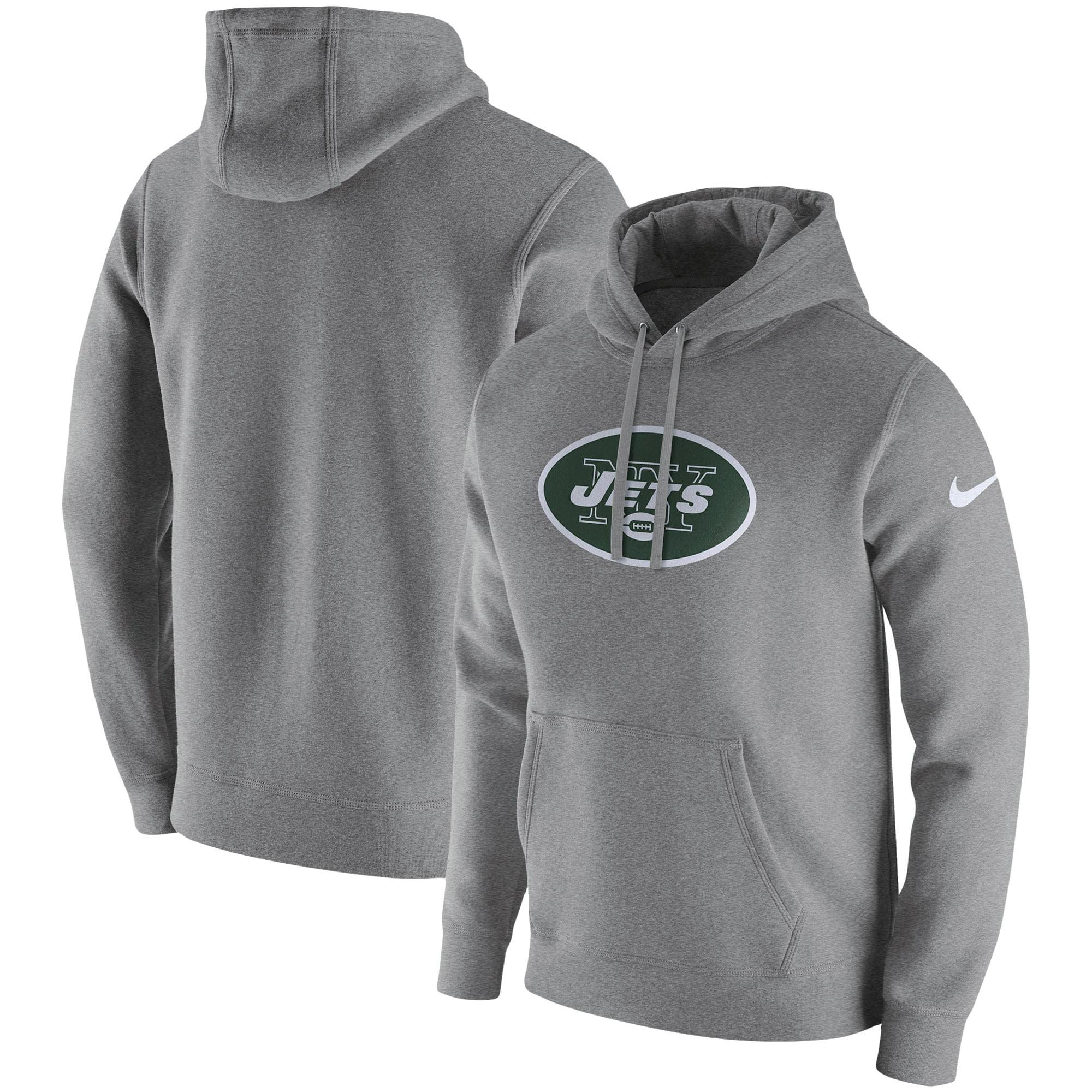 New York Jets Nike Club Fleece Pullover Hoodie - Heathered Gray