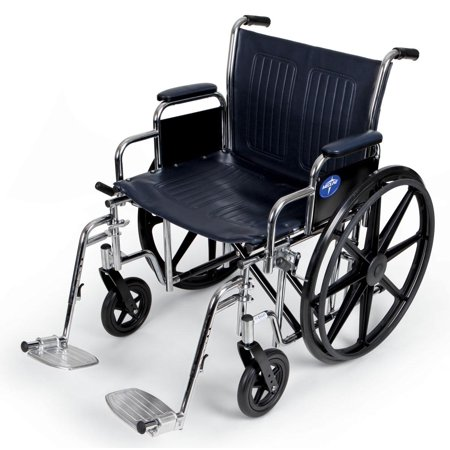 "Medline Excel Extra-Wide Wheelchair, 22"" Wide Seat, Desk-Length Removable Arms, Swing Away Footrests"