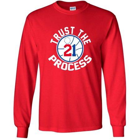 e754806e4efd LONG SLEEVE Shedd Shirts Red Joel Embiid Philadelphia 76ers