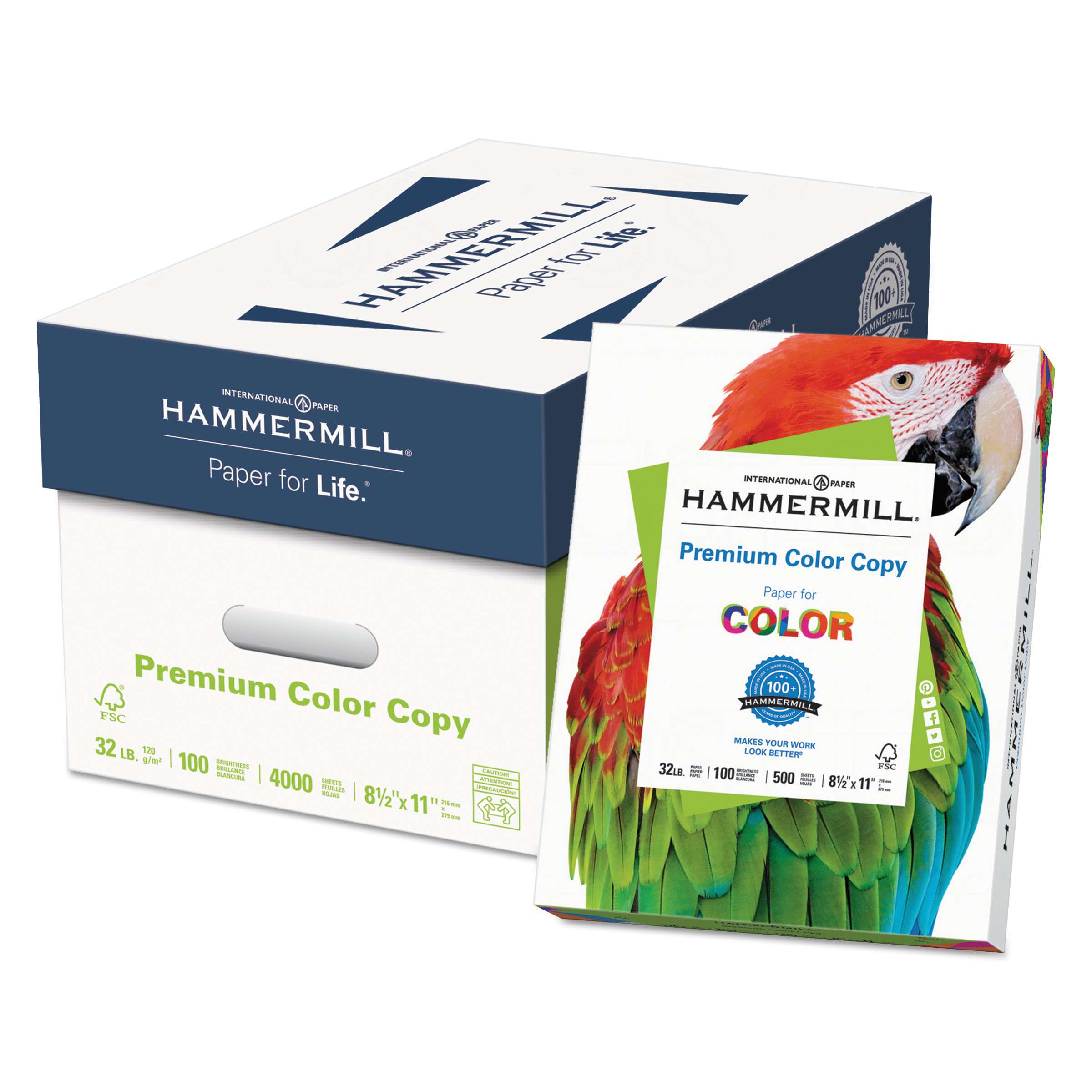 Hammermill Premium Color Copy Paper, 100 Bright, 32lb, Letter, Photo White, 500 Sheets/Ream -HAM102630