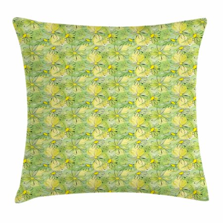 Floral Throw Pillow Cushion Cover, Doodle Nostalgic Branches Daisies on Green Toned Circles Background, Decorative Square Accent Pillow Case, 18 X 18 Inches, Apple Green Yellow Black, by (Daily Doodle)