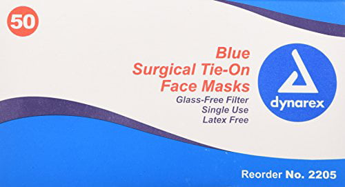 Face 50 Blue Per Latex Free With 3 Pack Masks Dynarex Box - com Surgical Walmart Filtered Ties