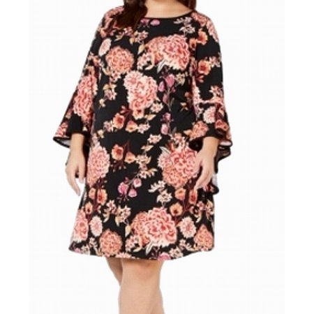 MSK Floral Pribt Ruffled Bell Sleeve Plus Shift Dress
