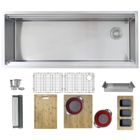 STYLISH 45 inch Ledge Workstation Single Bowl Undermount Kitchen Sink Built in Accessories - image 1 of 14
