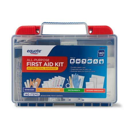 Equate All-Purpose First Aid Kit, 140 Items (Best Survival Medical Kit)