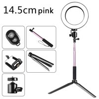 DC5V 5W 64 LED Ring Light Round Selfie Camera Lamp with Telescopic Tripod/ Cellphone Holder/ BT Connected Remote Control 200MM Diameter Width USB Powered Operated 10 Levels Adjustable Brightness Dimma