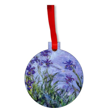 Artist Claude Monet's Lavender Irises Round Shaped Flat Hardboard Christmas Ornament Tree Decoration - Unique Modern Novelty Tree Décor Favors - Walmart.com