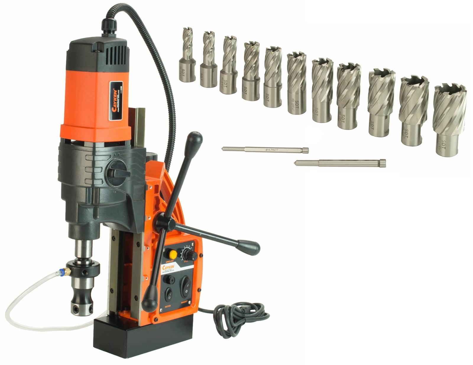 """Cayken KCY-48-2WDO 1.8"""" Magnetic Drill Press with 1700W Motor, Weldon Shank, 13 Piece 1"""" Cut Depth... by Cayken"""