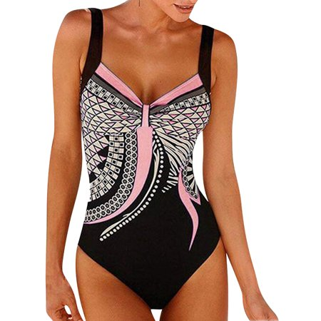 cc61af1bb49a6 DRESSWEL - DRESSWEL Women Vintage Spaghetti Strap Boho Print One Piece  Swimsuit Swimwear - Walmart.com