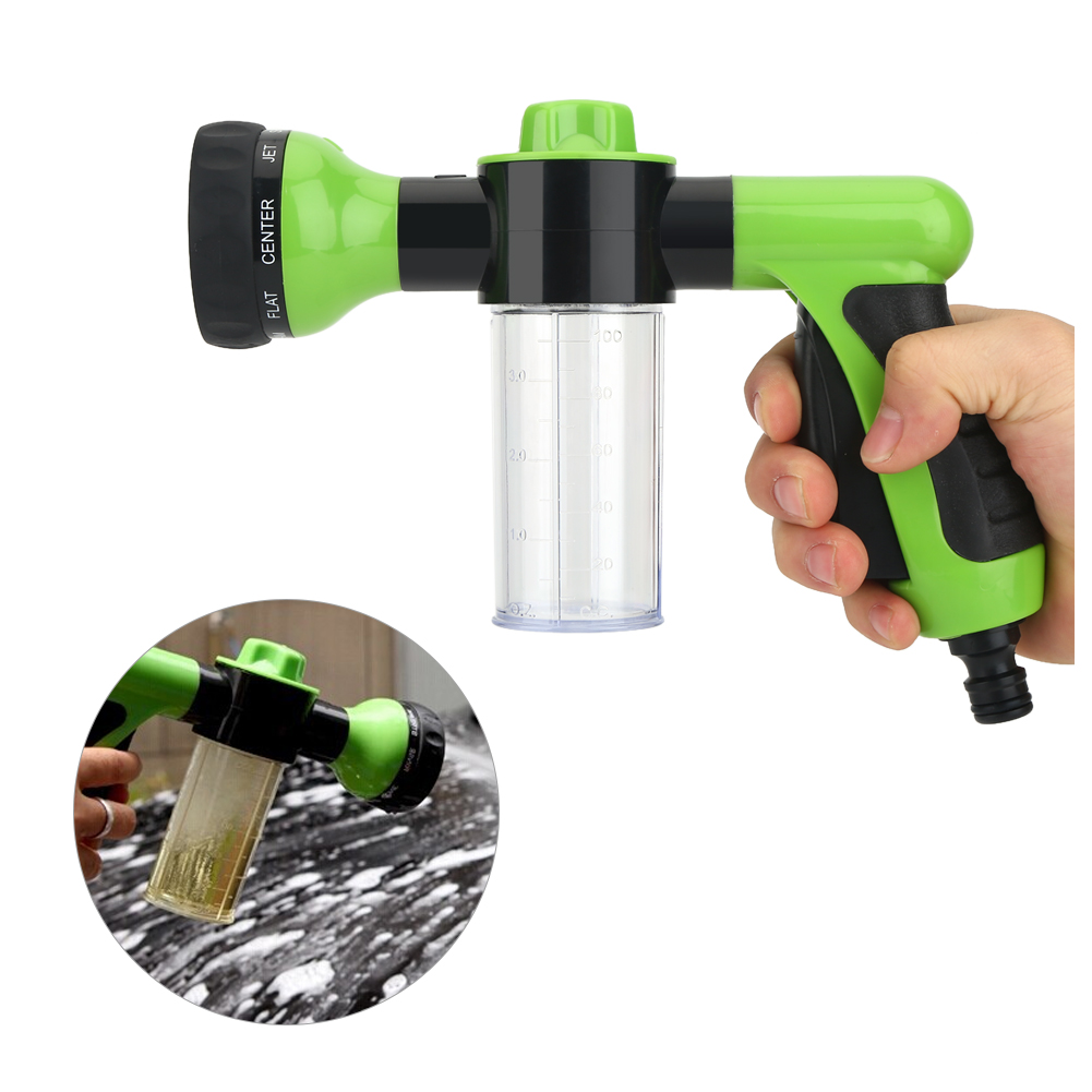 High Pressure Garden Hose Foam Nozzle-Foam Car Washer Water Sprayer Gun with 8 adjustable Pattern