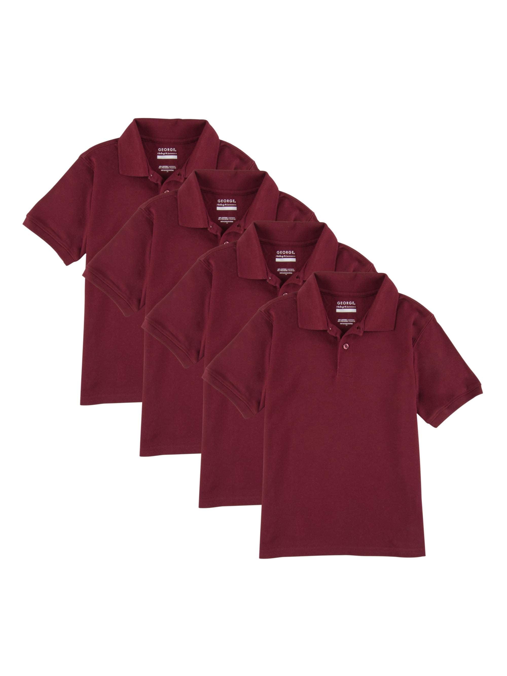 George Boys School Uniforms Short Sleeve Pique Polo Shirts 4 Pack