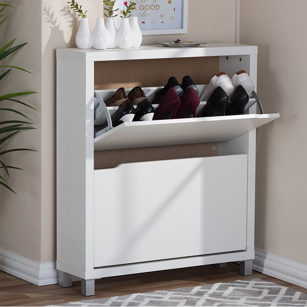Simms 2 Storage Modern Shoe Cabinet, Multiple Colors Image 2 Of 5