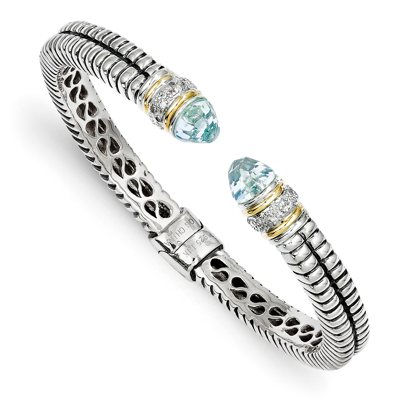 Sterling Silver Two Tone Silver And Gold Plated Sterling Silver w/Sky Blue Topaz & Diamond Cuff Bracelet - image 2 of 2