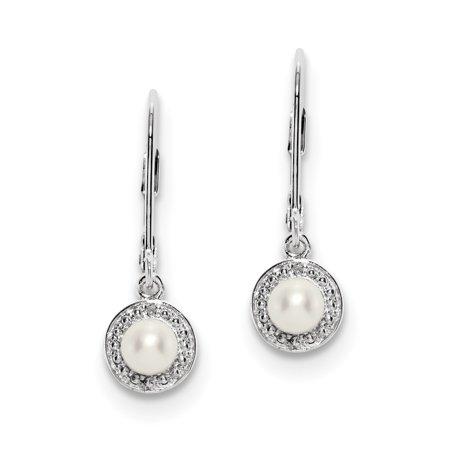 Sterling Silver Rhodium-plated Diam. & FW Cultured Pearl Earrings QBE11JUN - image 2 de 2