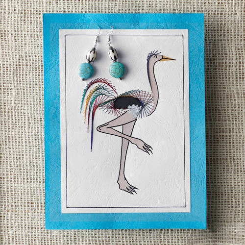 2-Piece Handpainted Card and Beaded Earring Set by Heshima for Full Circle Exchange