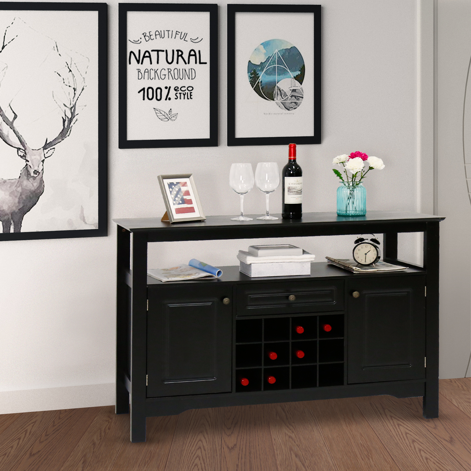 Kinbor Sideboard Cabinet Wine Storage Wine Cabinet Table Big Storage Useful  Buffet Table Kitchen Furniture Black