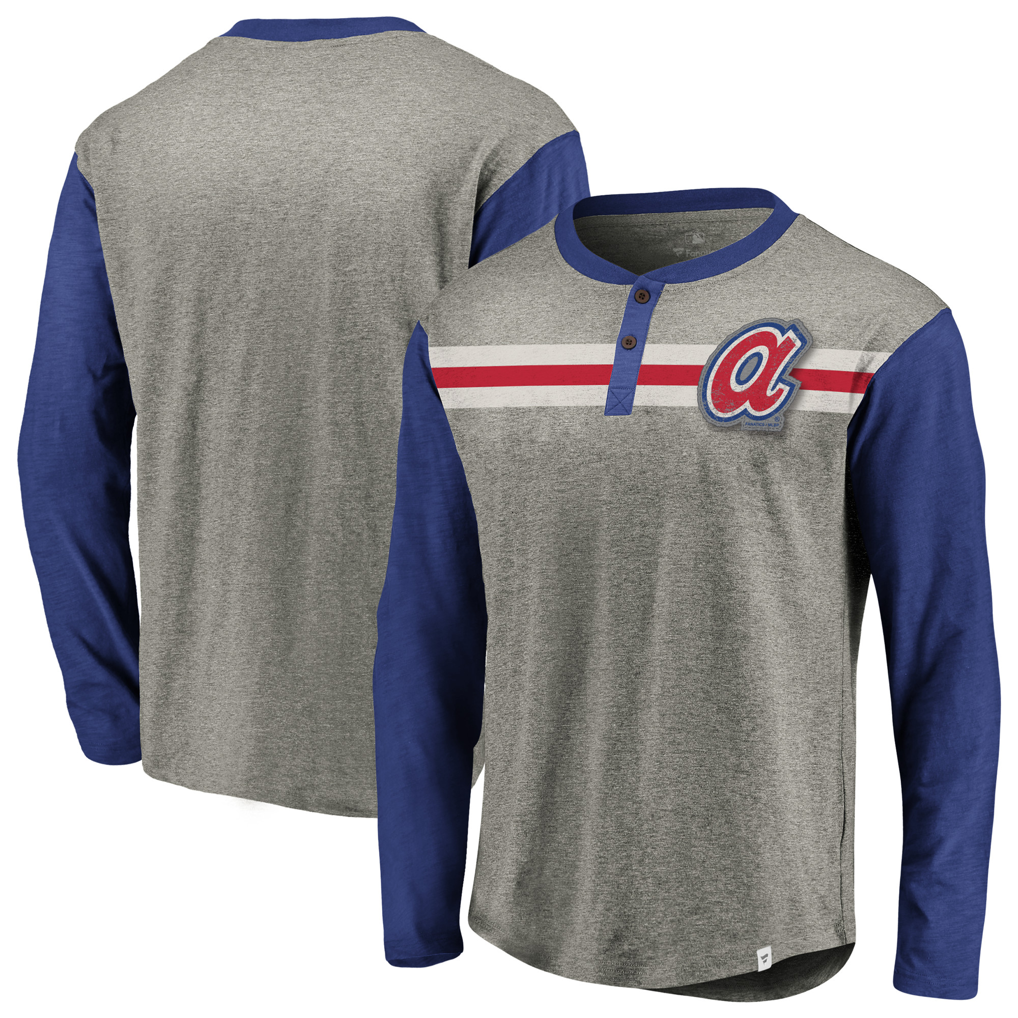 Atlanta Braves Fanatics Branded True Classics Stripe Henley Long Sleeve T-Shirt - Heathered Gray/Royal