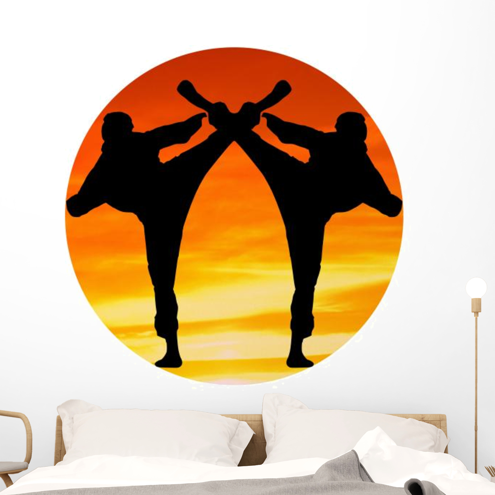 Two Martial Arts Fighter Wall Decal by Wallmonkeys Peel and Stick ...
