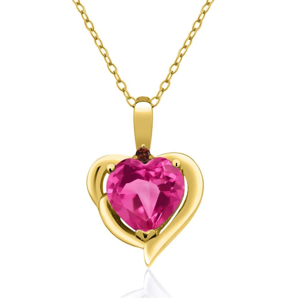 2.02 Ct Heart Shape Pink Mystic Topaz Red Garnet 14K Yellow Gold Pendant by