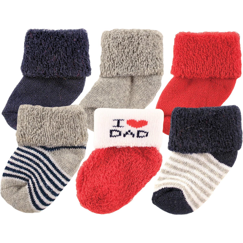 Luvable Friends Newborn Baby Boy Socks 6-Pack