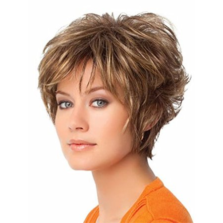 5I Short Curly Fluffy Heat Resistant Women Hair Wigs for Parties with a Wig Cap