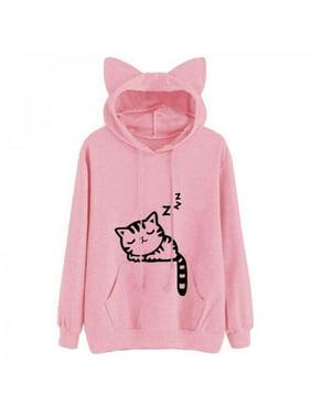 MarinaVida autumn and winter fashion women's cat print long-sleeved hoodie pullover cat ears hooded sweatshirt shirt