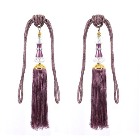 Unique BargainsHome Living Room Decor Nylon Rope Window Curtain Tassel Tieback Cord Purple Pair