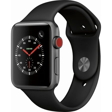 Refurbished Apple Watch Series 3 (GPS+ Cellular) 42mm Space Gray Aluminum Case with Black Sport Band (GSM Unlocked) - MQK22LLA