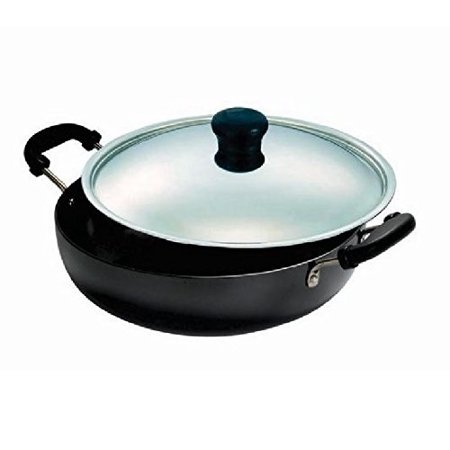 Vinod Hard Anodized Deep Kadai with Stainless Steel Lid, 1.6-Liter (Surgical Steel Rainbow Anodized)