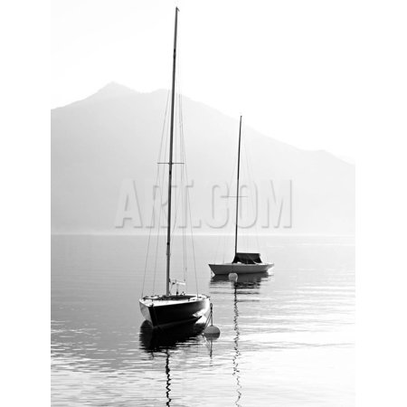 Two Sail Boats in Early Morning on the Mountain Lake. Black and White Photography. Salzkammergut, A Coast Water Scene Print Wall Art By Kletr