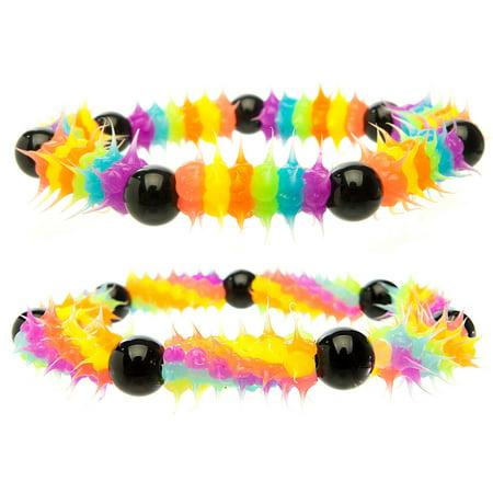 Frogsac Glow in the Dark Spiky Silicone Beaded Bracelet Set of 2](Glow In Dark Bracelet)